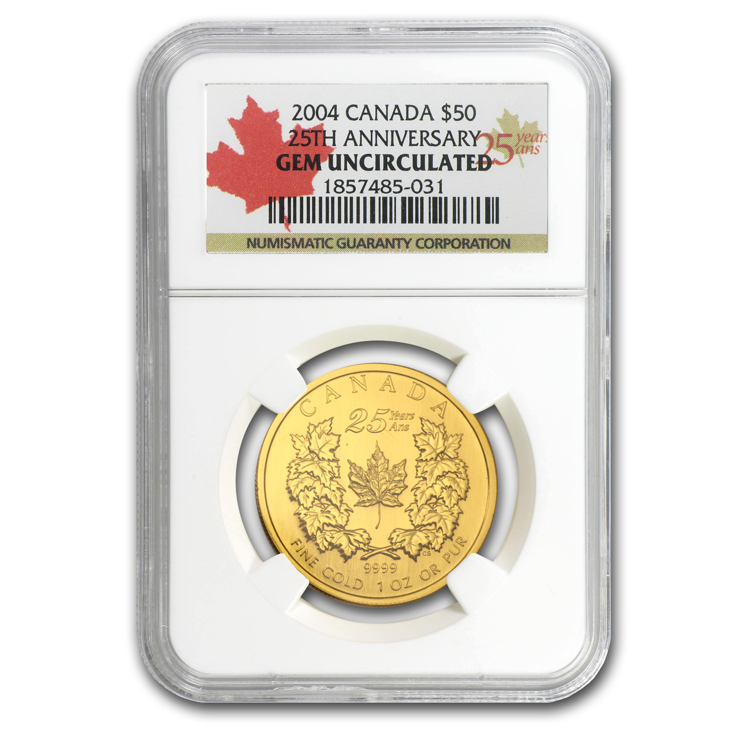 2004 1 oz Gold Canadian Maple Leaf (25th Ann) Gem Unc NGC