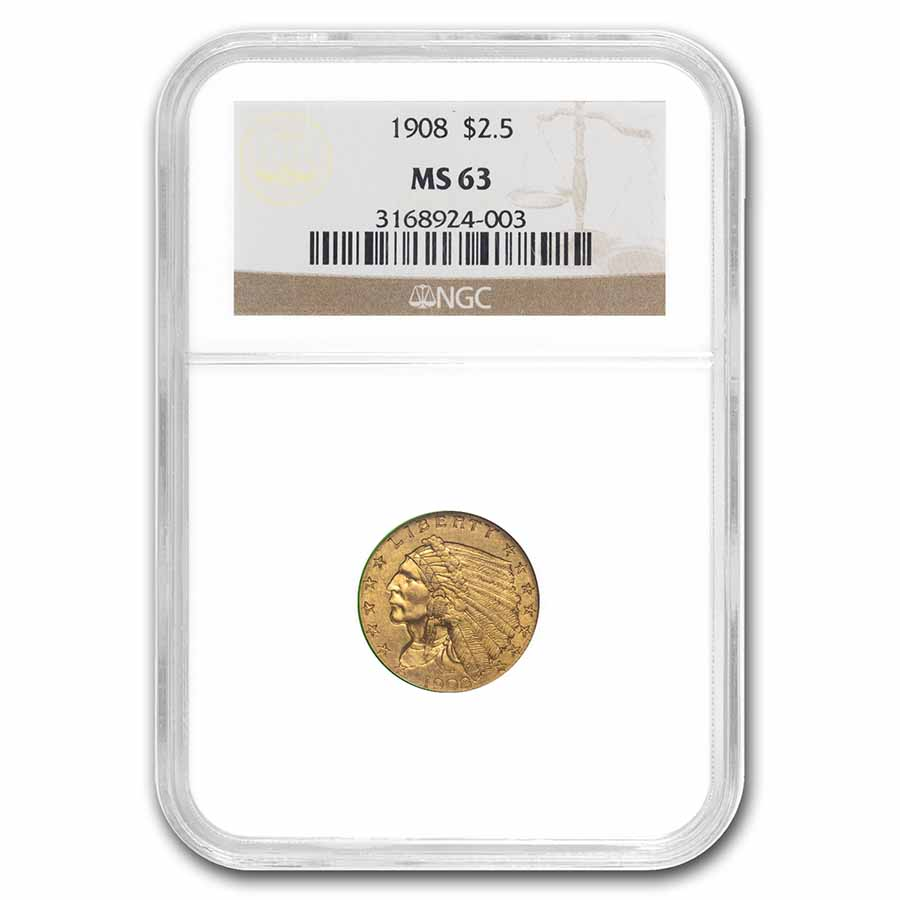 1908 $2.50 Indian Gold Quarter Eagle MS-63 NGC