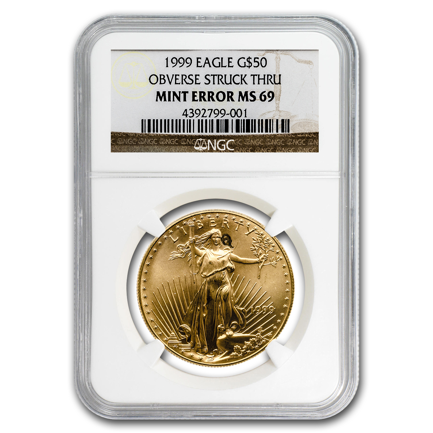 1999 1 oz Gold American Eagle MS-69 NGC (Obv Mint Error)