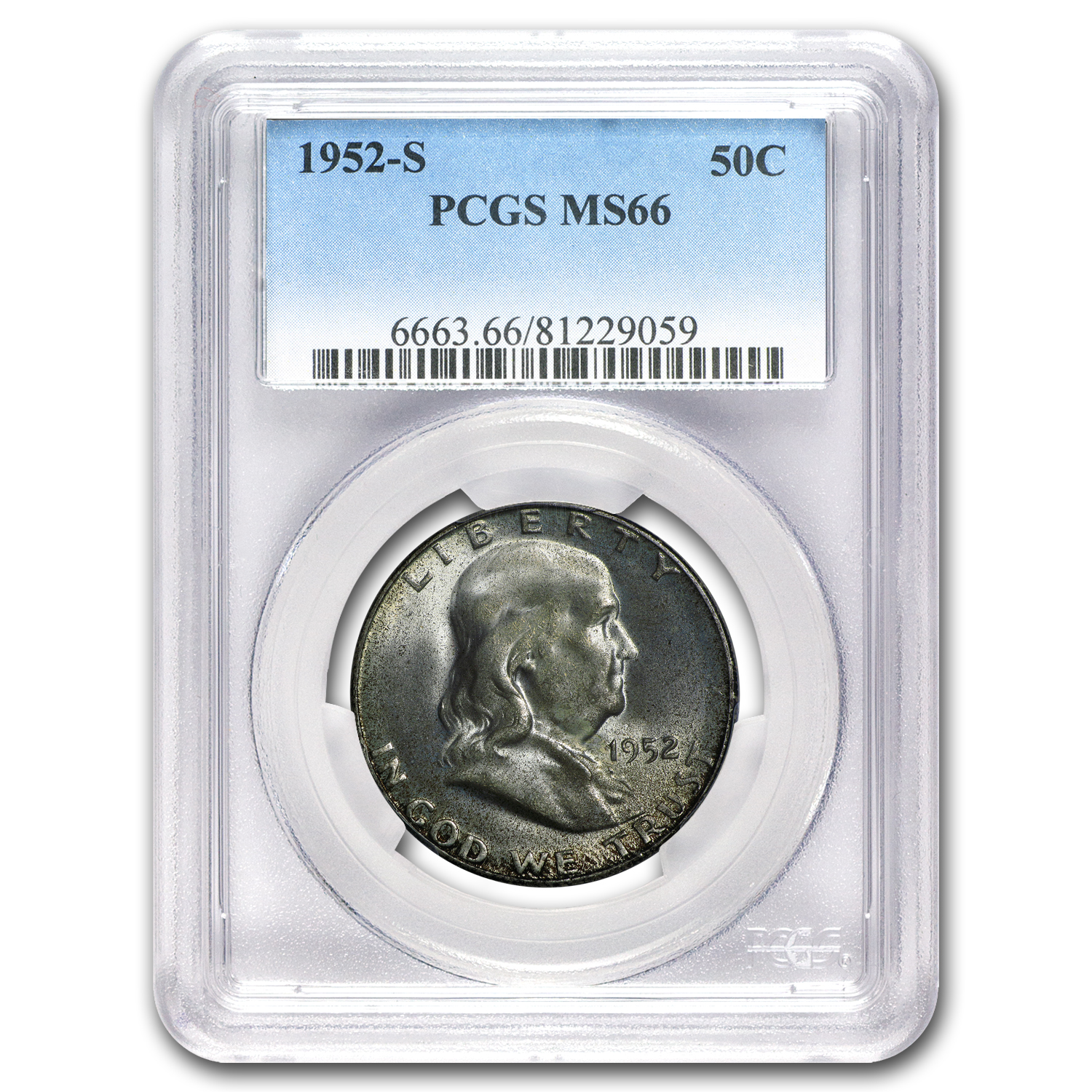 1952-S Franklin Half Dollar MS-66 PCGS (Toned)