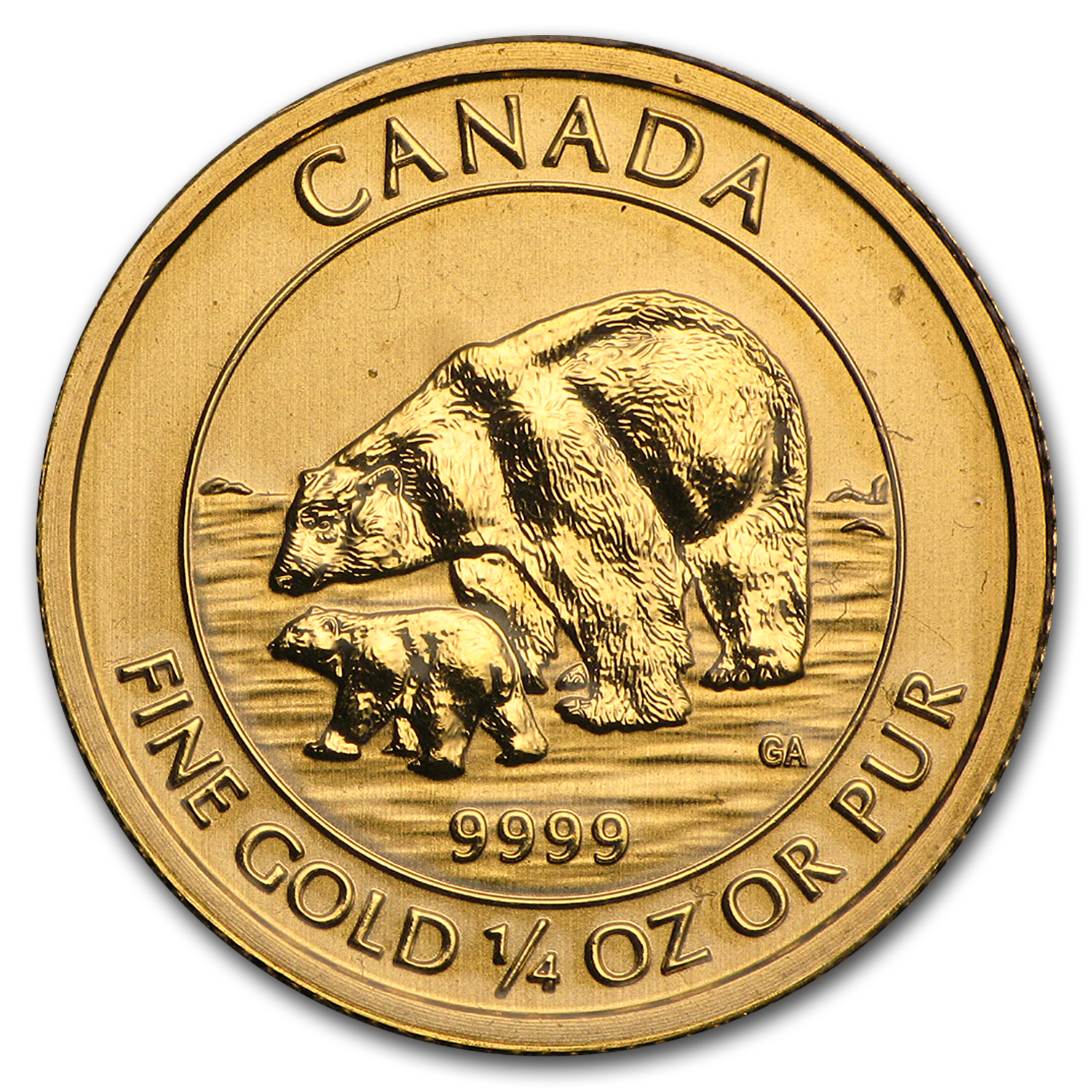 2015 Canada 1/4 oz BU Gold $10 Polar Bear and Cub