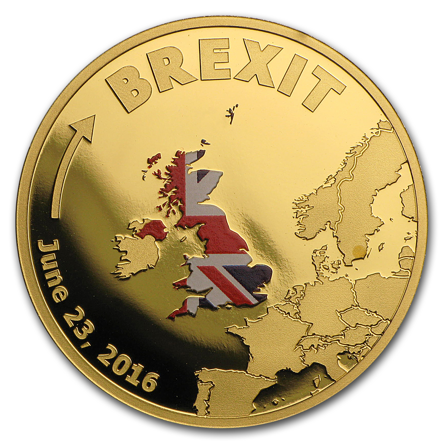 2016 Cook Islands 1/10 oz Gold Brexit Proof