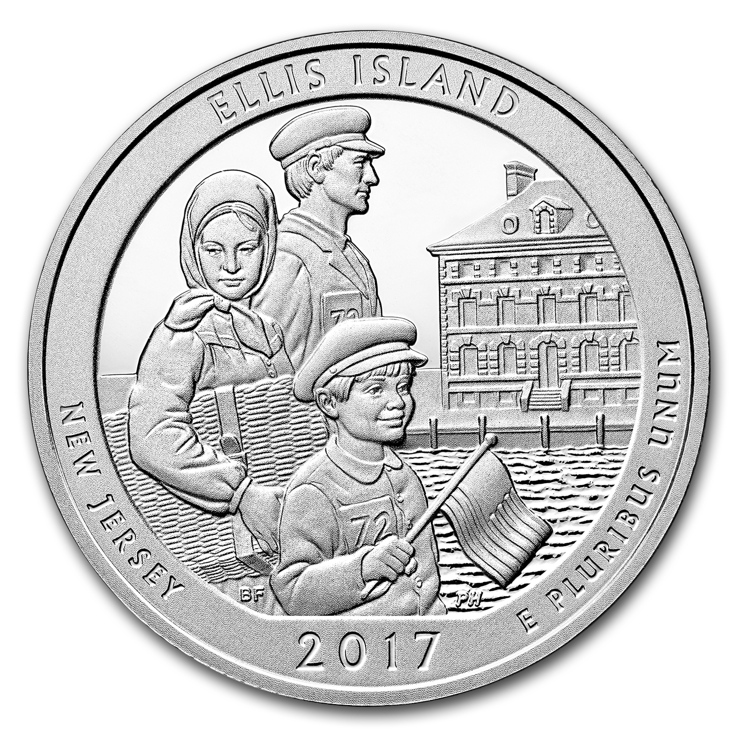 2017 5 oz Silver ATB Ellis Island National Monument, NJ
