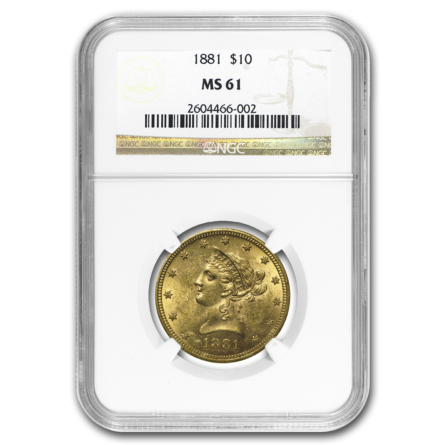 1881 $10 Liberty Gold Eagle MS-61 NGC