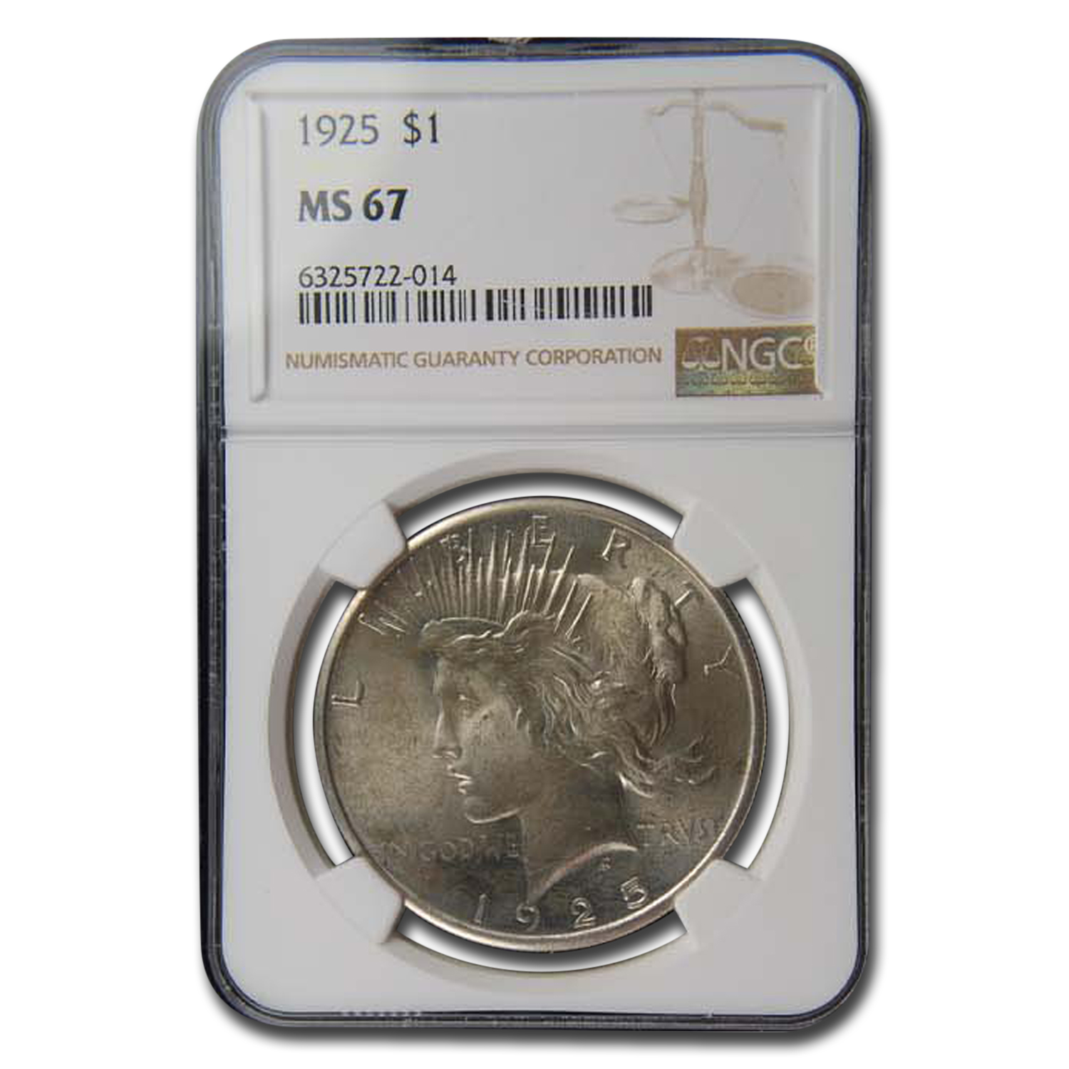 1925 Peace Dollar MS-67 NGC