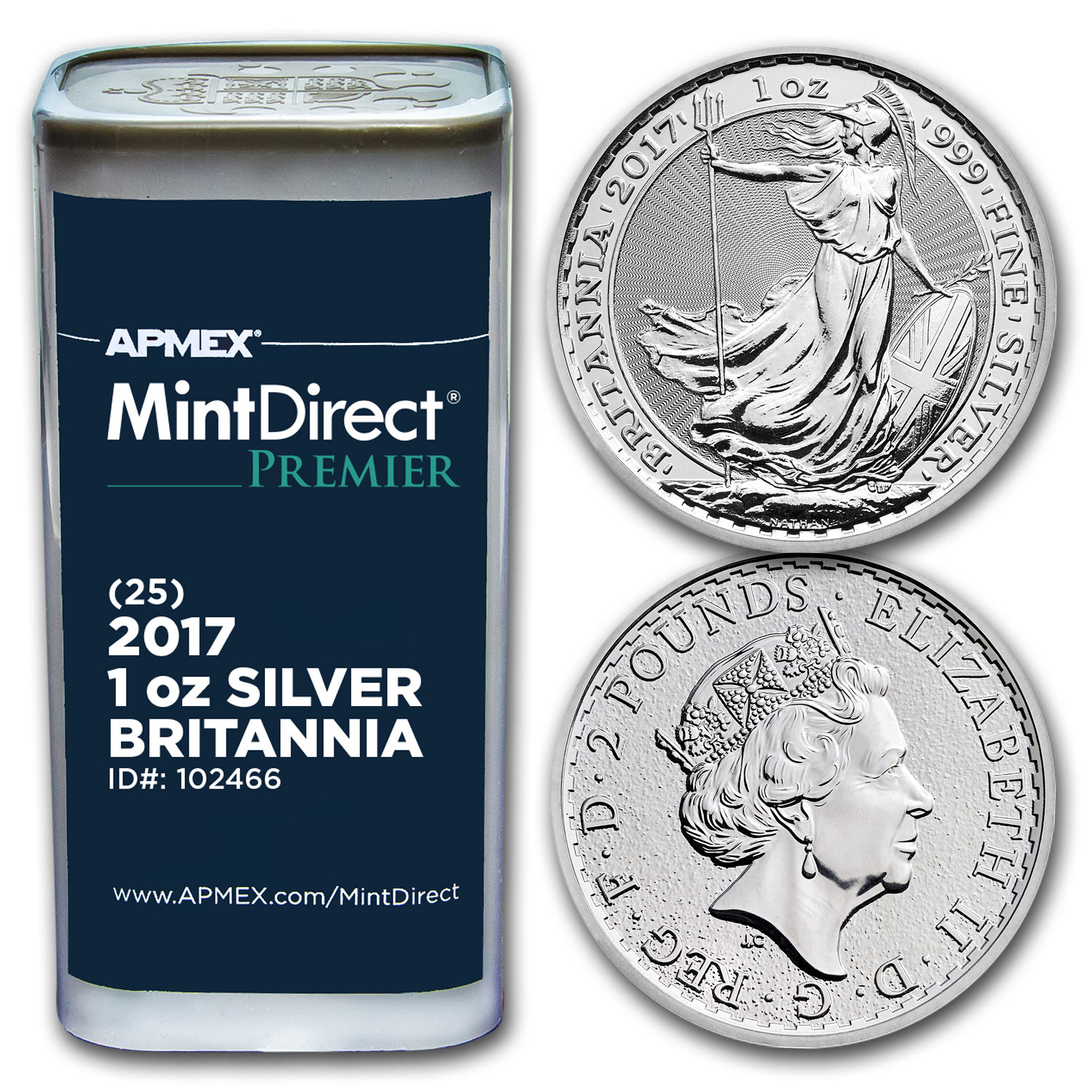 2017 GB 1 oz Silver Britannia (25-Coin MintDirect Premier® Tube)