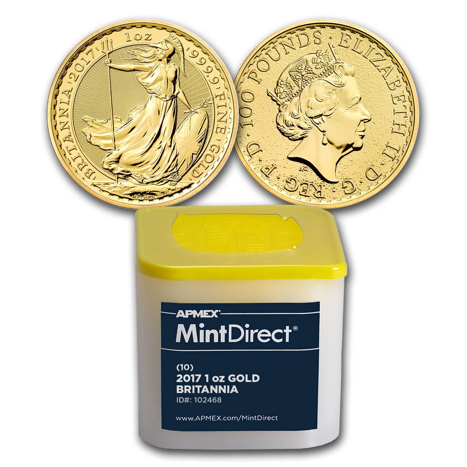 2017 Great Britain 1 oz Gold Britannia (10-Coin MintDirect® Tube)