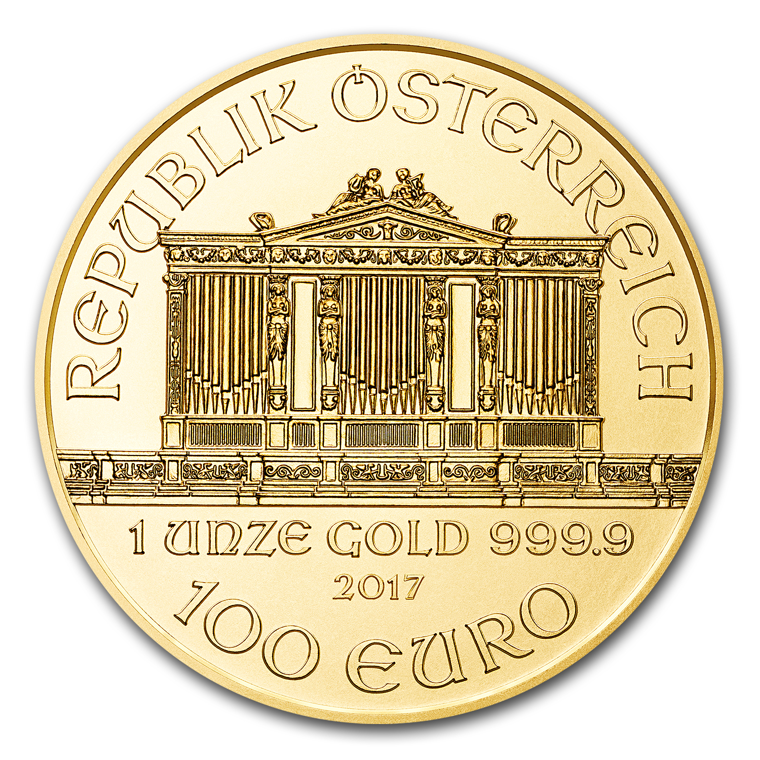 2017 Austria 1 oz Gold Philharmonic (10-Coin MintDirect® Tube)