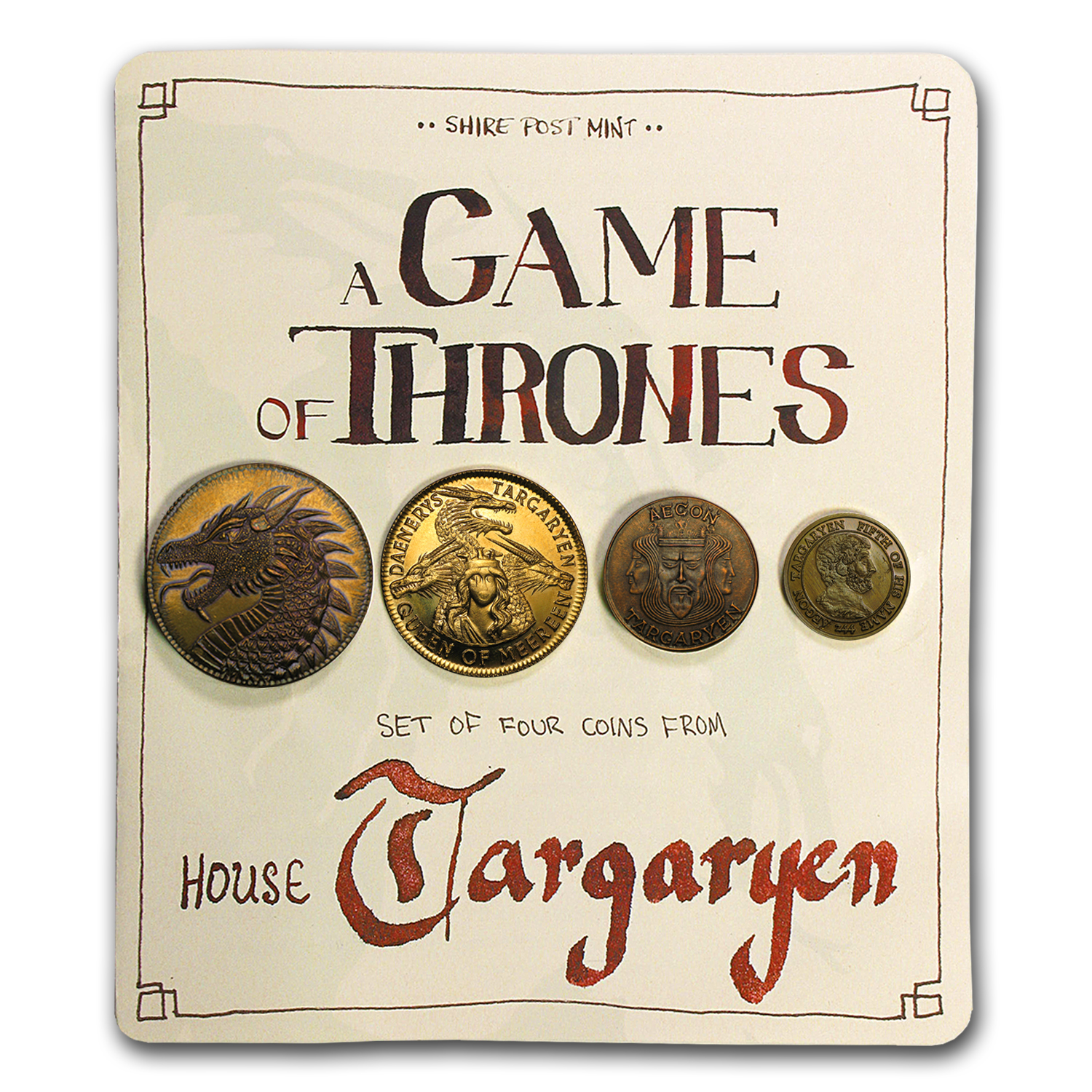 A Game Of Thrones - House Targaryen Set of 4 Coins