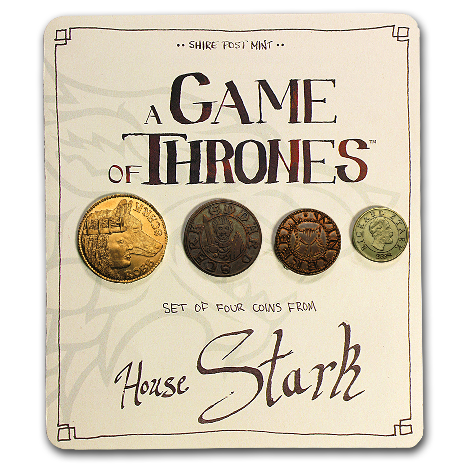 A Game Of Thrones - House Stark Set of 4 Coins