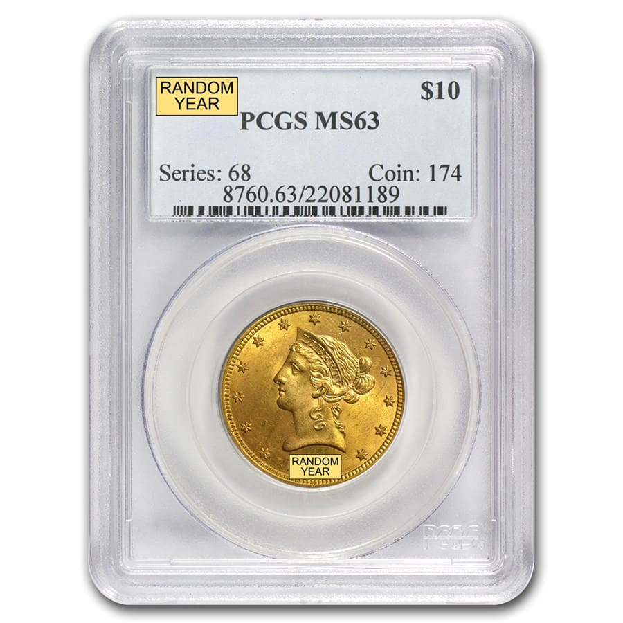 $10 Liberty Gold Eagle MS-63 PCGS (Random)