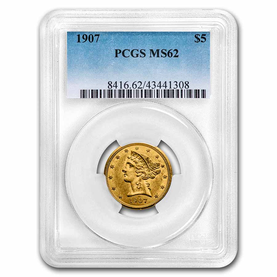 $5 Liberty Gold Half Eagle - MS-62 PCGS