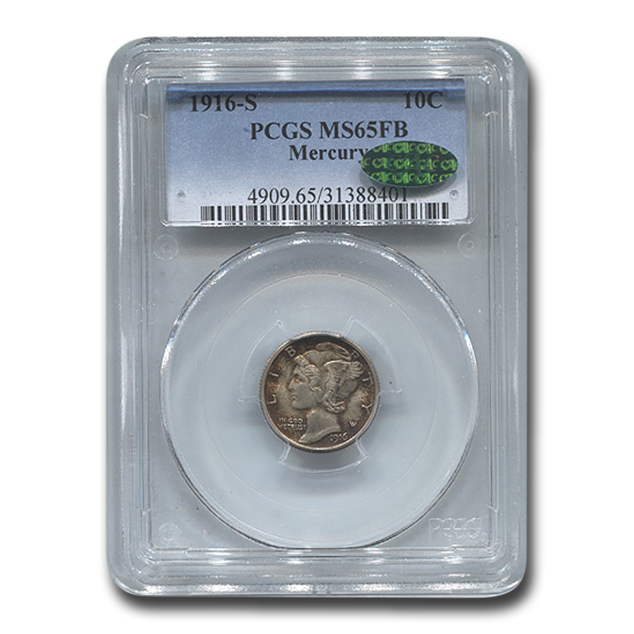 1916-S Mercury Dime MS-65 PCGS (FB, CAC)