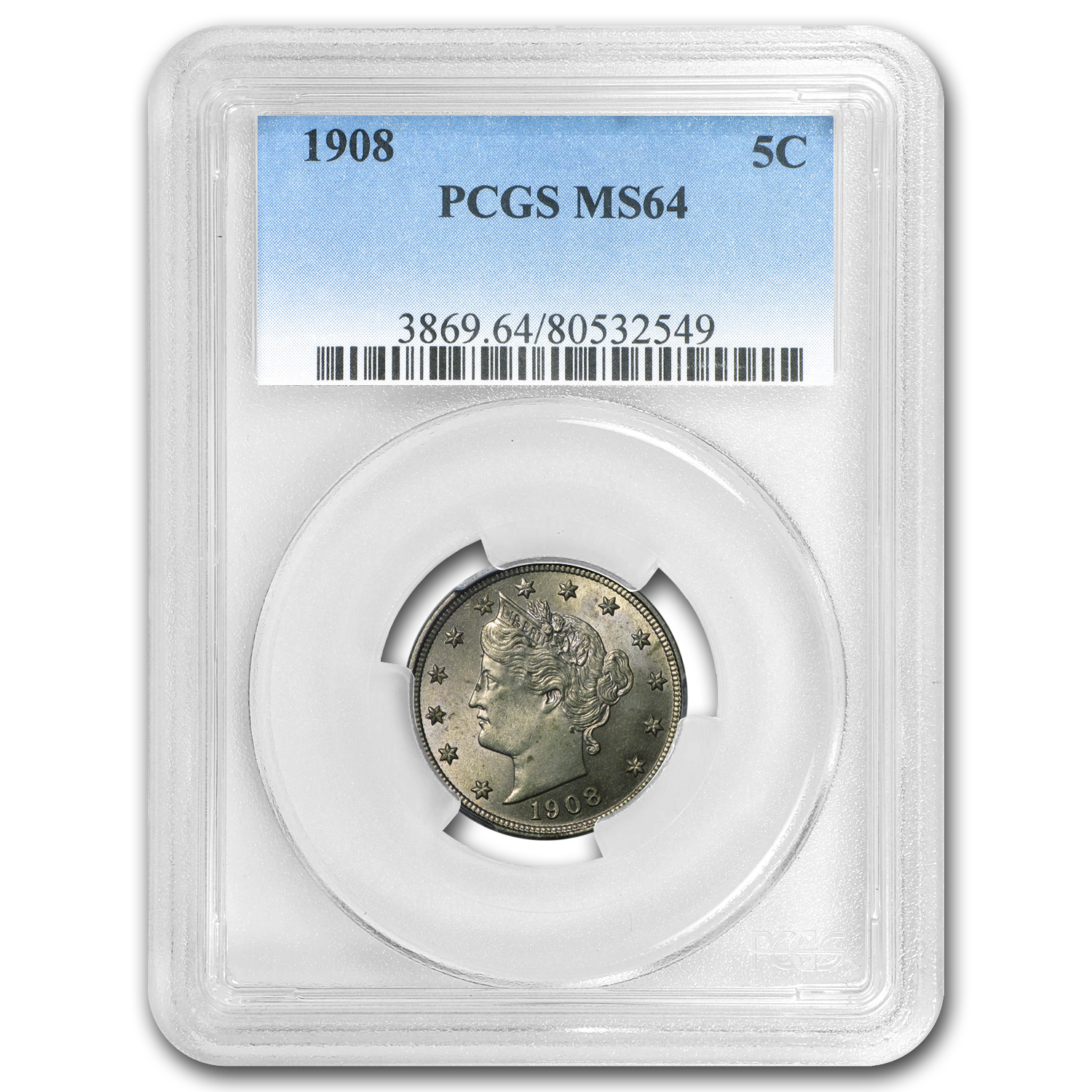 1908 Liberty Head V Nickel MS-64 PCGS