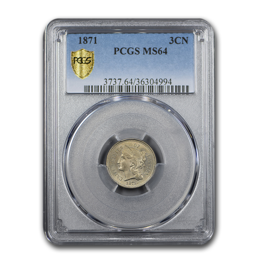 1871 Three Cent Nickel MS-64 PCGS