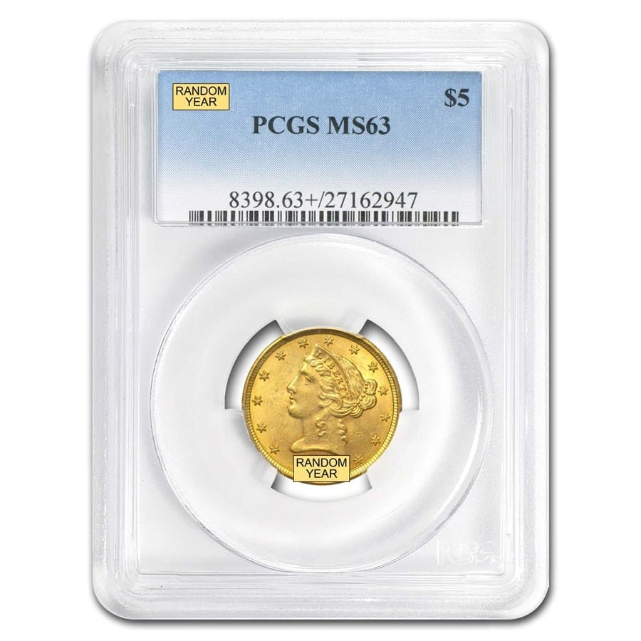 $5 Liberty Gold Half Eagle - MS-63 PCGS