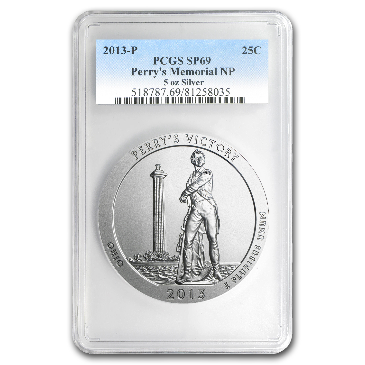 2013-P 5 oz Silver ATB Perry's Victory SP-69 PCGS