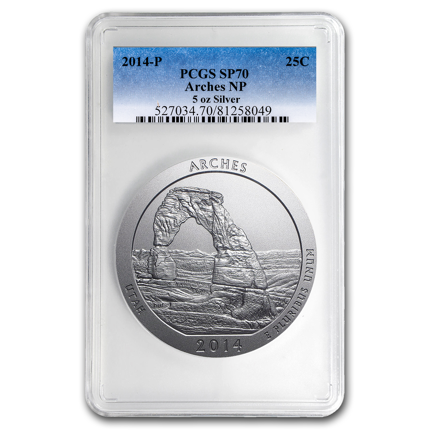 2014-P 5 oz Silver ATB Arches SP-70 PCGS