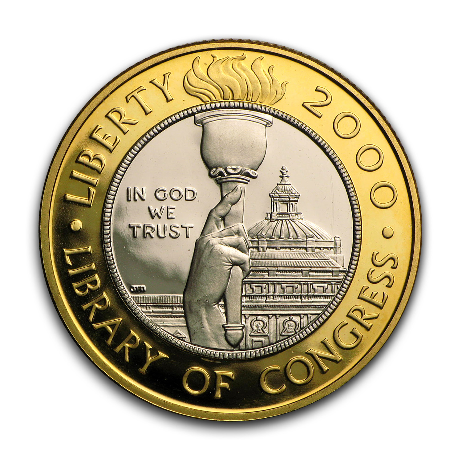 2000-W Gold/Platinum $10 Commem Library of Congress Pf (No Box)