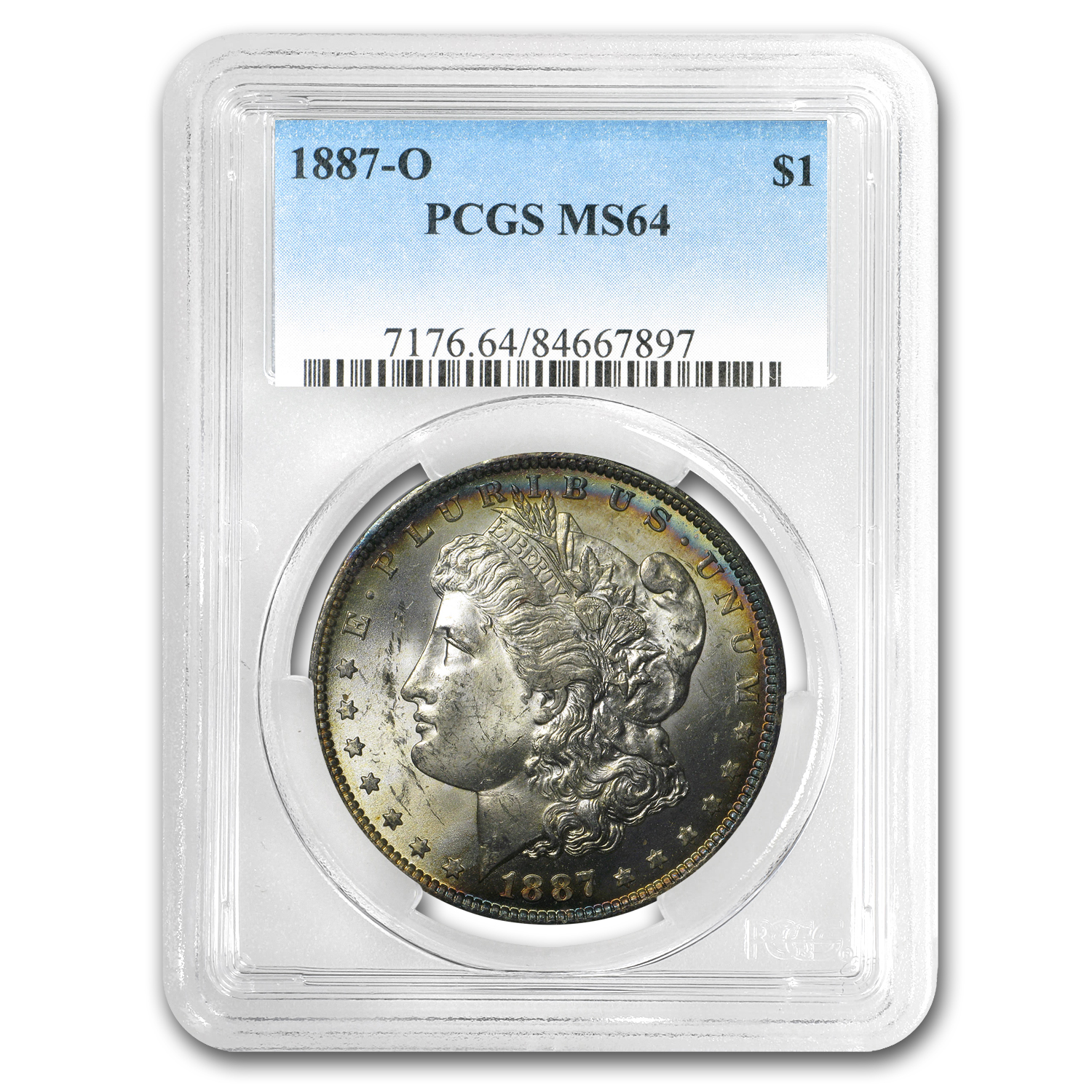 1887-O Morgan Dollar MS-64 PCGS (Attractive Obv Toning)