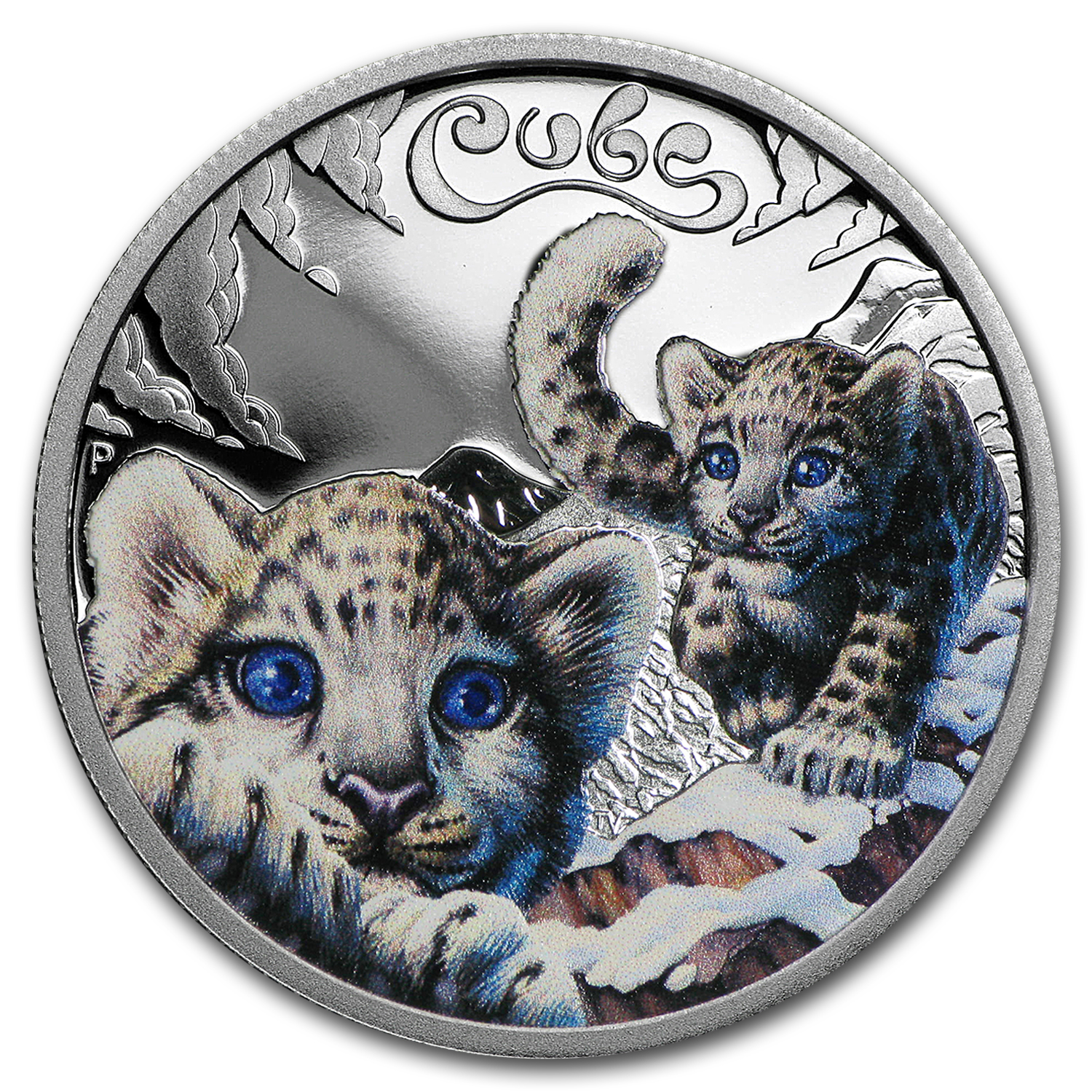 2016 Tuvalu 1/2 oz Silver Proof Snow Leopard Cubs