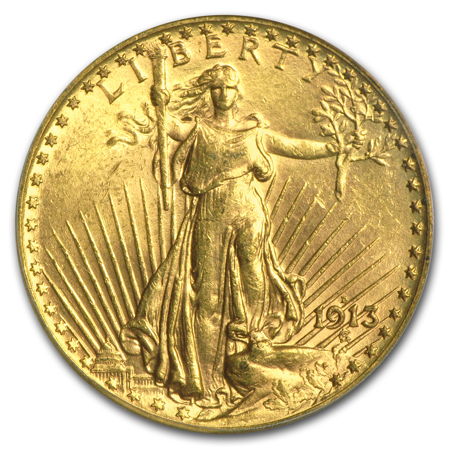 1913-D $20 St. Gaudens Gold Double Eagle MS-63 PCGS