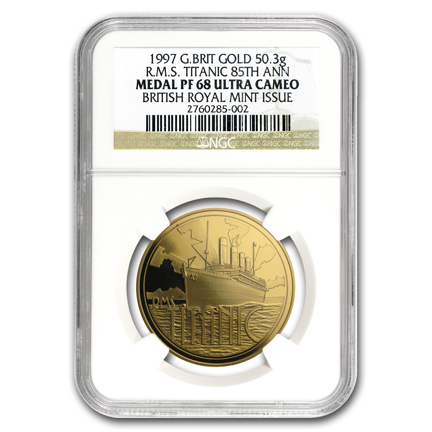 1997 Great Britain Gold RMS Titanic 85th Anniversary PF-68 NGC