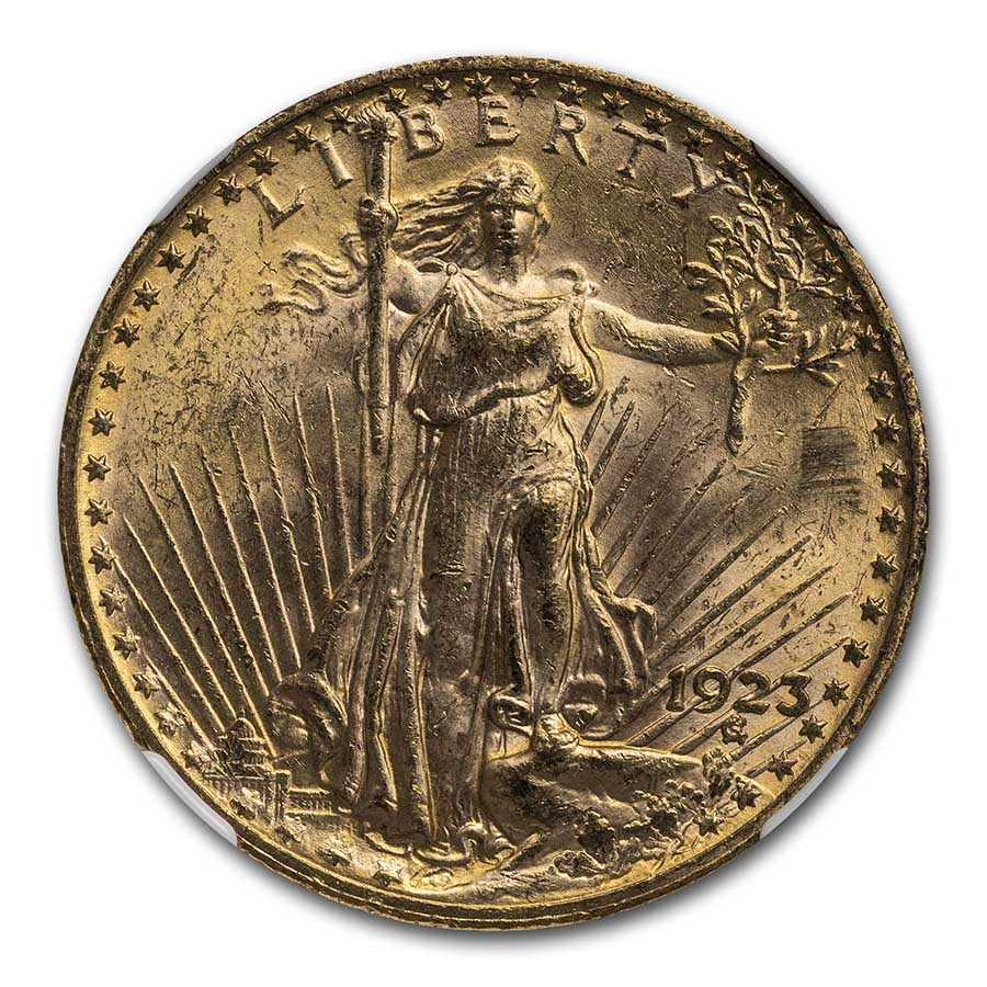 1923 $20 St. Gaudens Gold Double Eagle MS-63 NGC