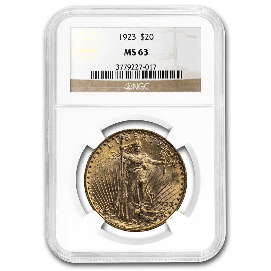 1923 $20 St. Gaudens Gold Double Eagle - MS-63 NGC