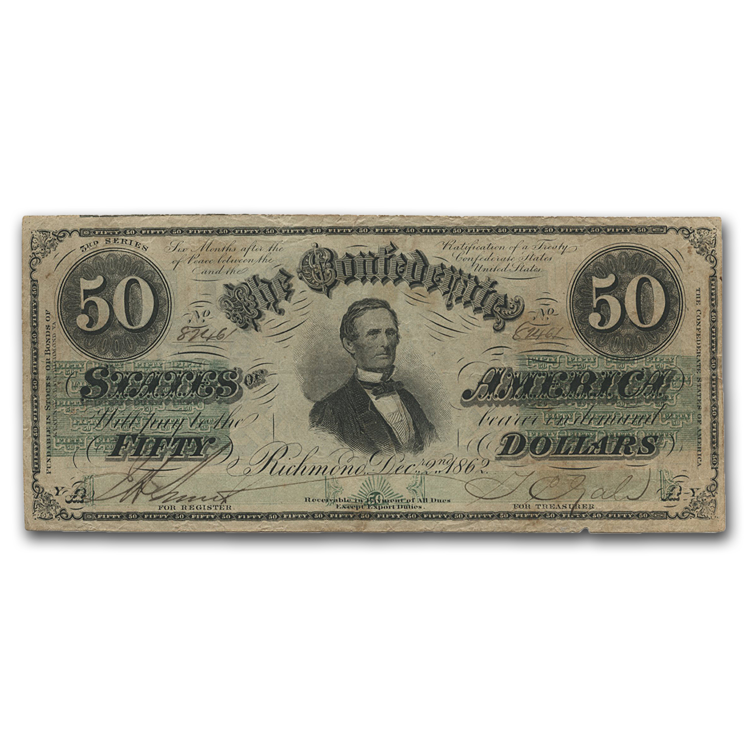 1862 CSA $50 (T-50) Jefferson Davis Richmond, VA VF