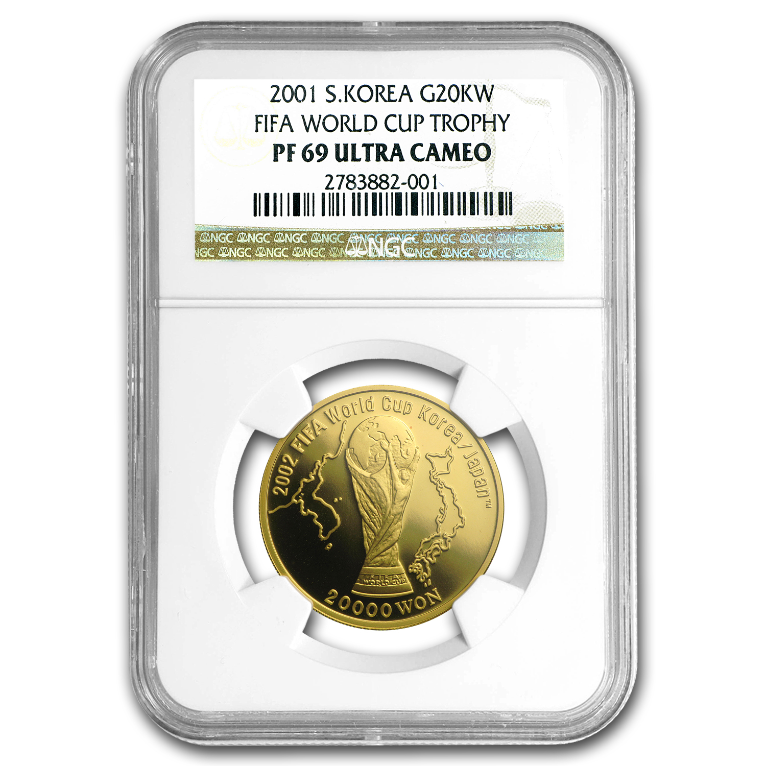 2001 South Korea Gold 20k Won FIFA World Cup Trophy PF-69 NGC