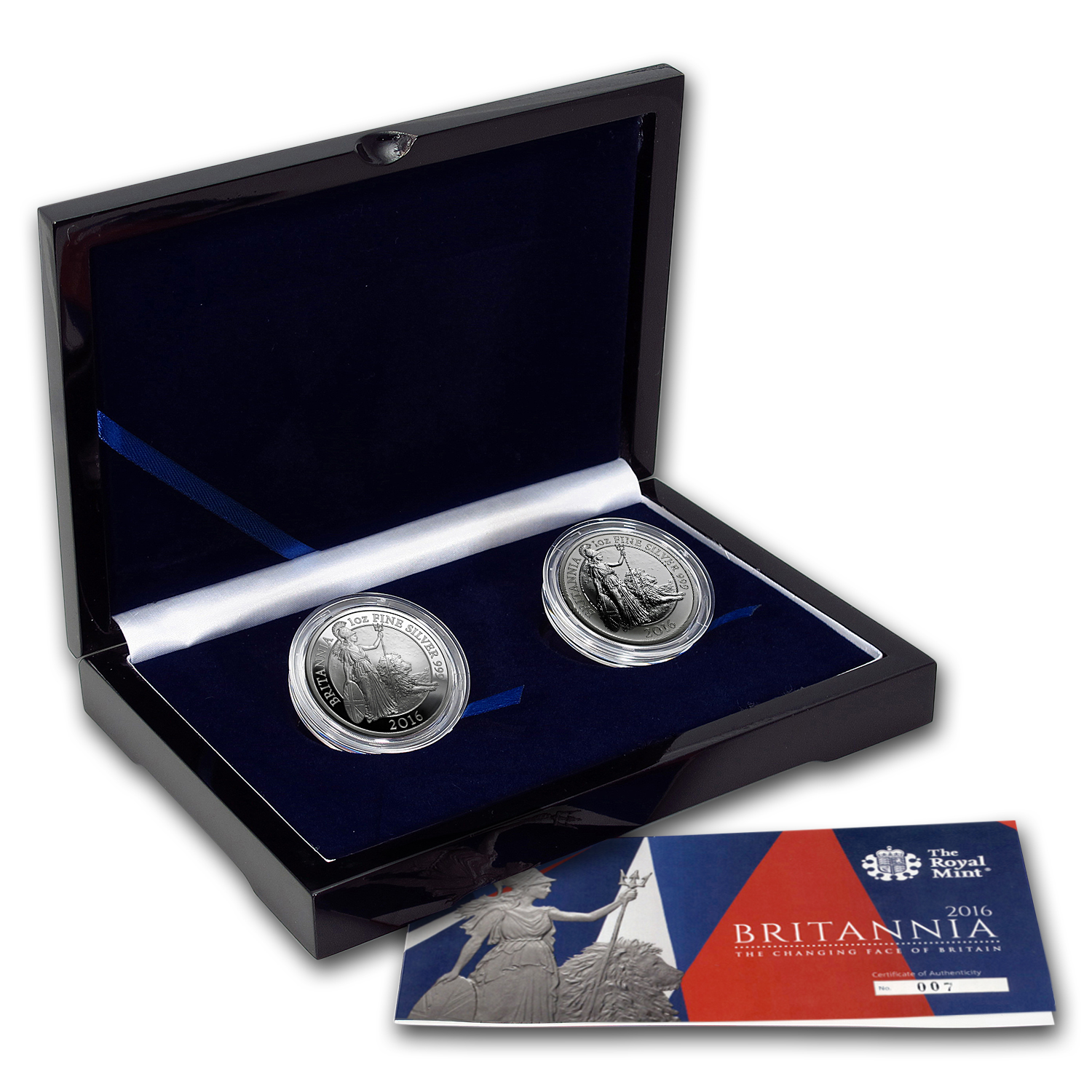 2016 2-Coin Silver 1 oz Britannia Proof/Reverse Proof Set #7