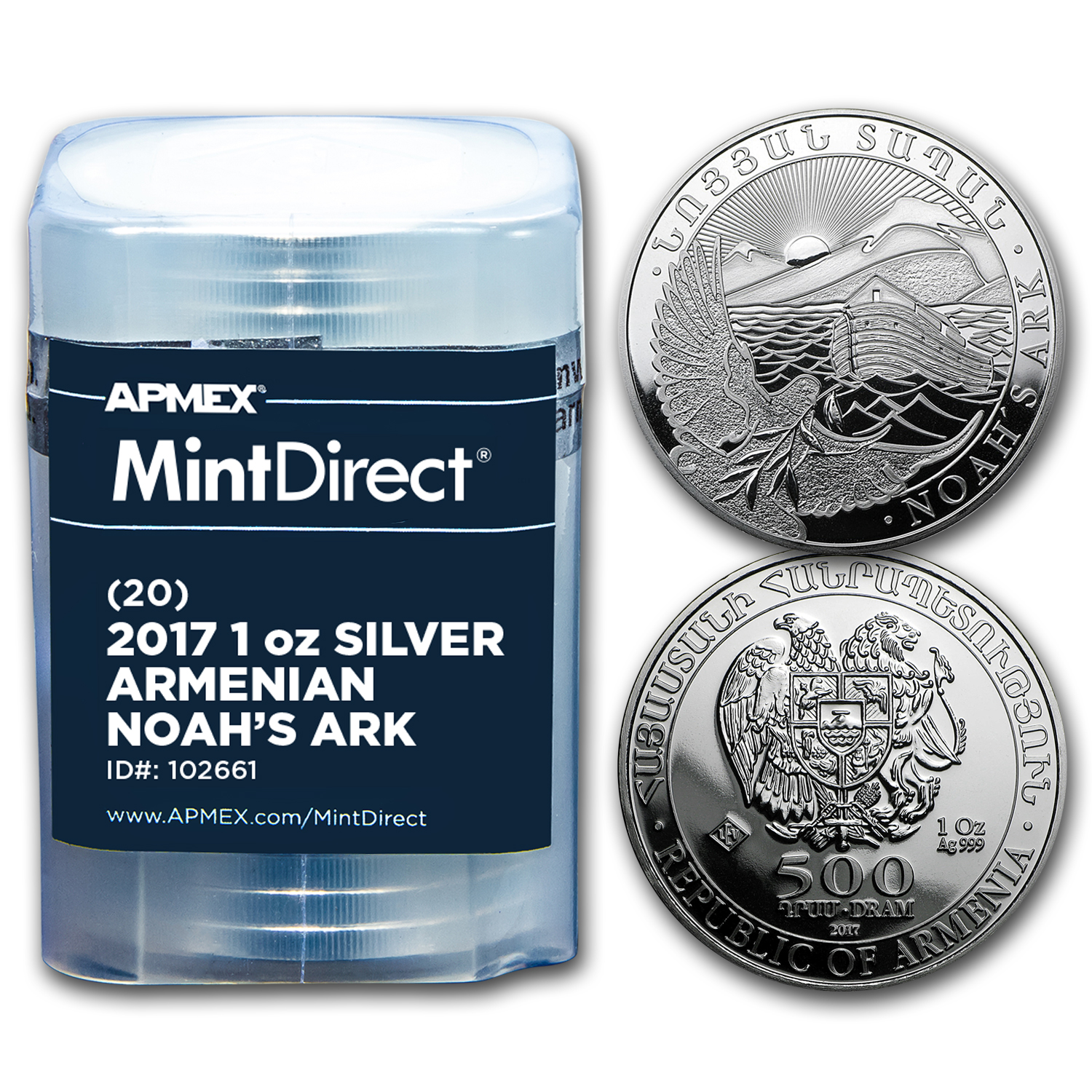 2017 Armenia 1 oz Silver Noah's Ark (20-Coin MintDirect® Tube)