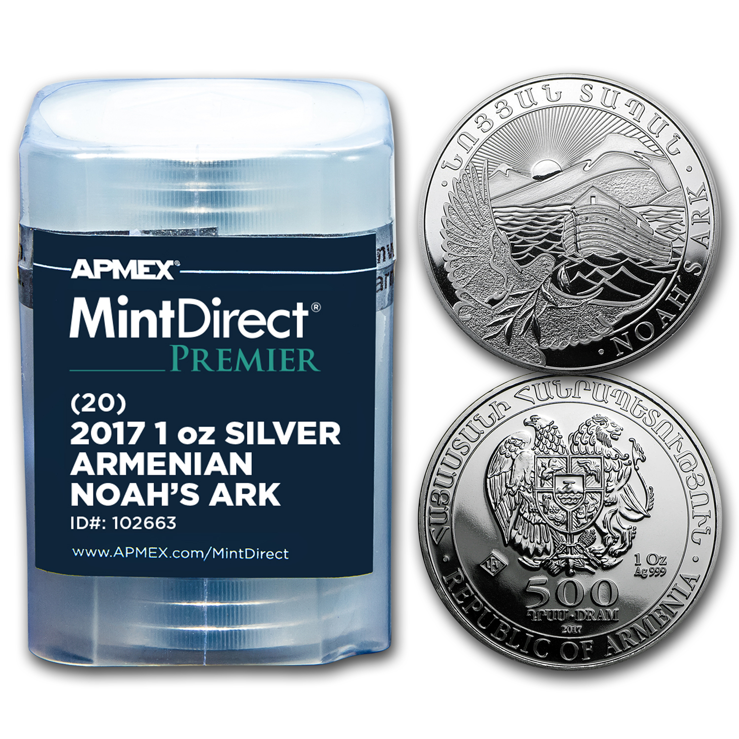 2017 Armenia 1 oz Silver Noah's Ark (MintDirect® Premier Tube)
