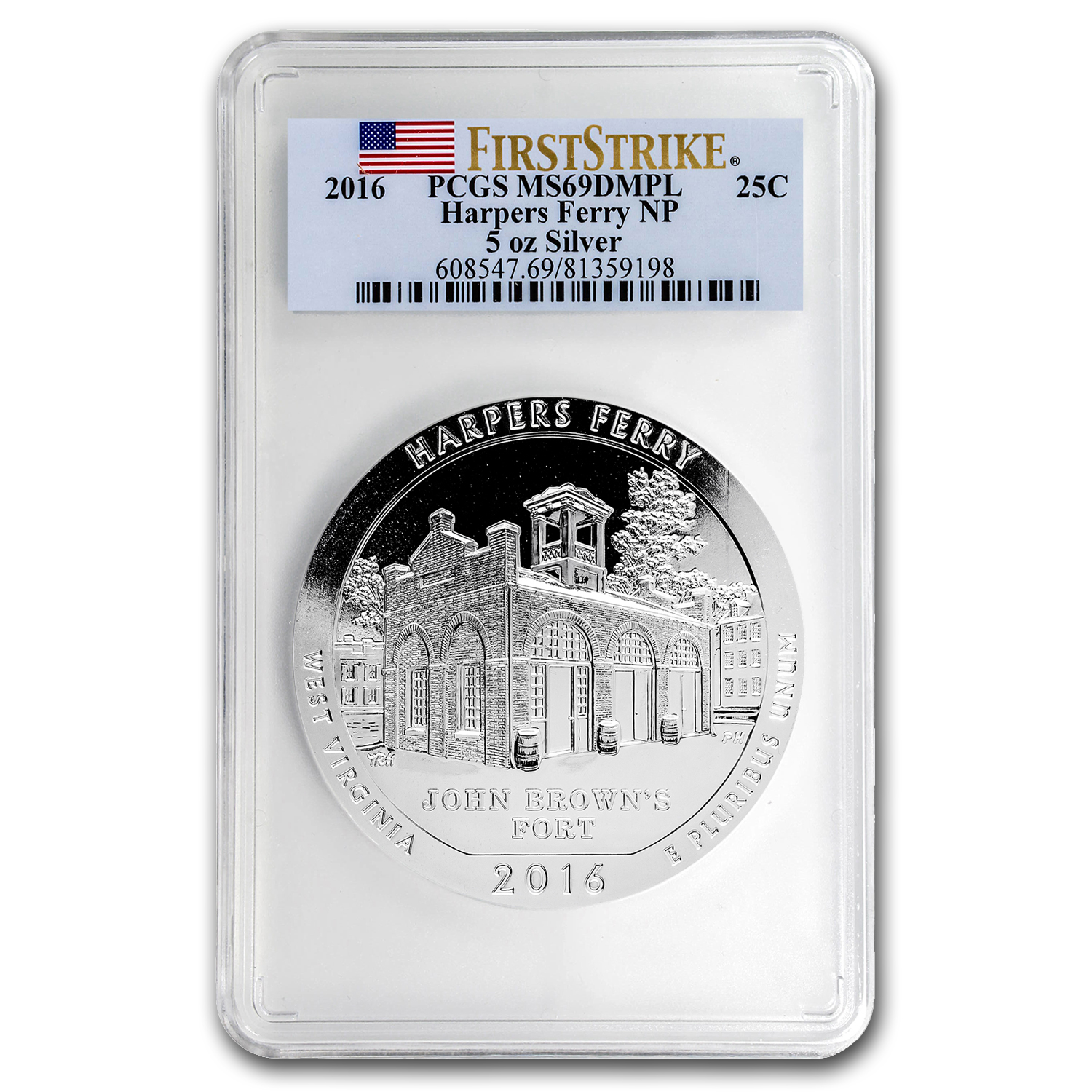 2016 5 oz Silver ATB Harpers Ferry MS-69 DMPL PCGS (First Strike)