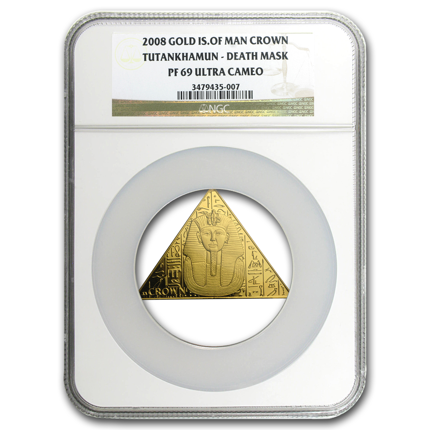 2008 IOM 1 oz Au King Tut Tr'ngle/Pyramid PF-69 NGC (Death Mask)