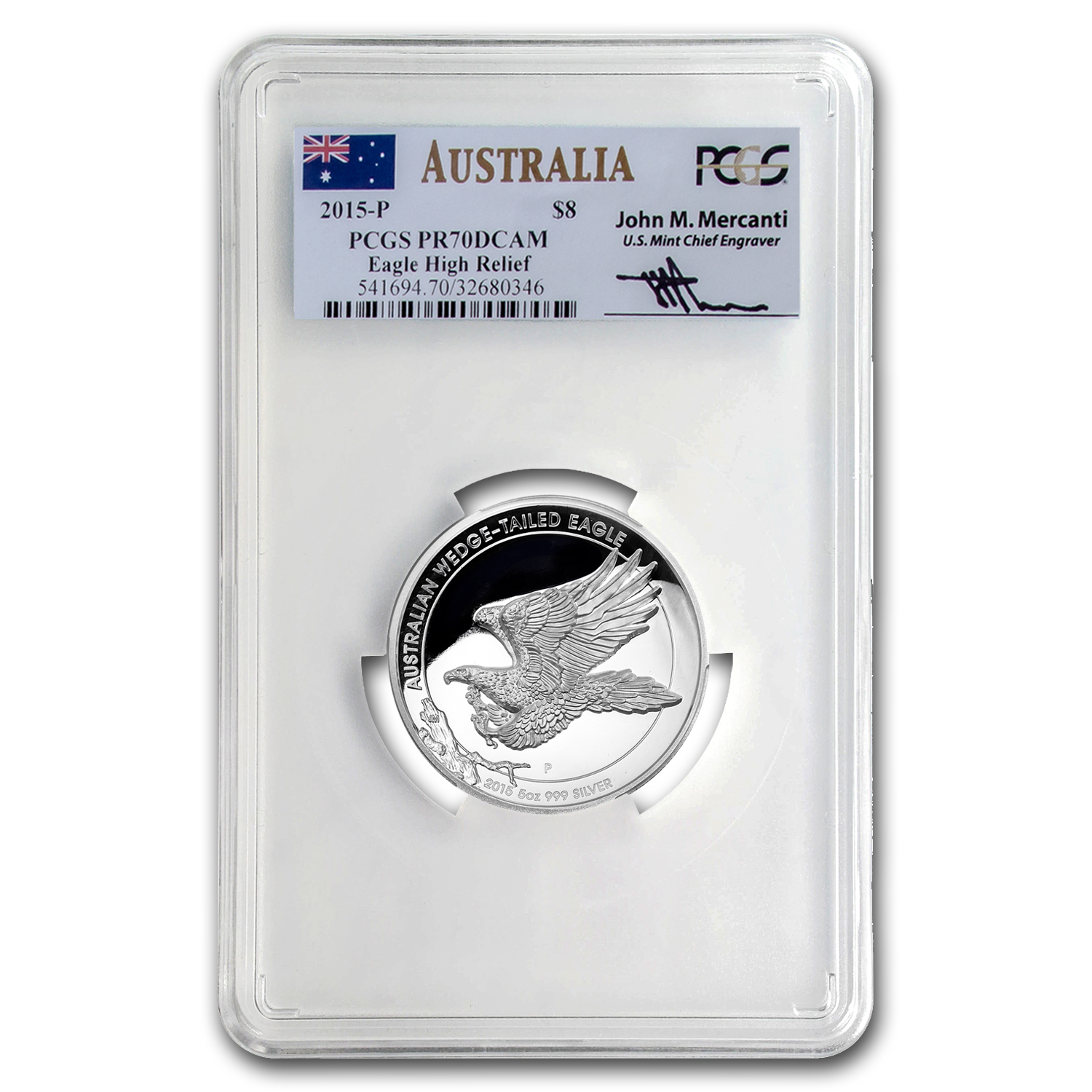 2015 AUS 5 oz Silver Wedge-Tailed Eagle PR-70 PCGS (Mercanti)