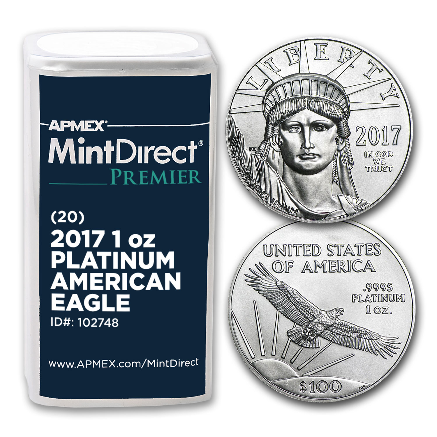 2017 1 oz Platinum Eagle (20-Coin MintDirect® Premier Tube)