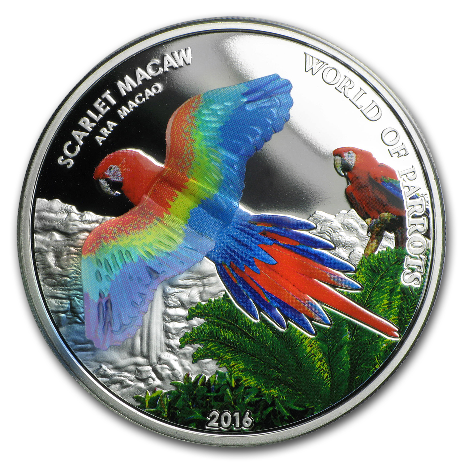 2016 Cook Islands Silver 3D World of Parrots (Scarlet Macaw)