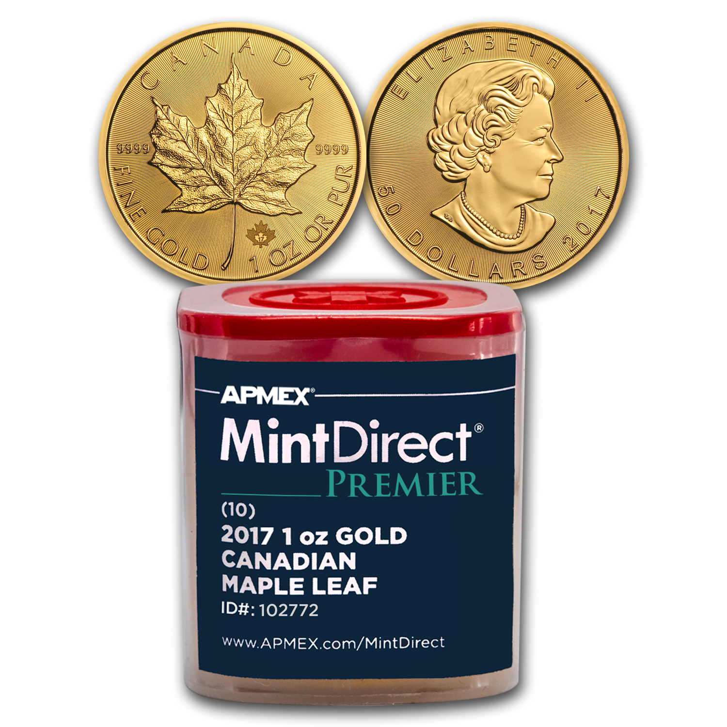 2017 1 oz Gold Maple Leaf (10-Coin MintDirect® Premier Tube)
