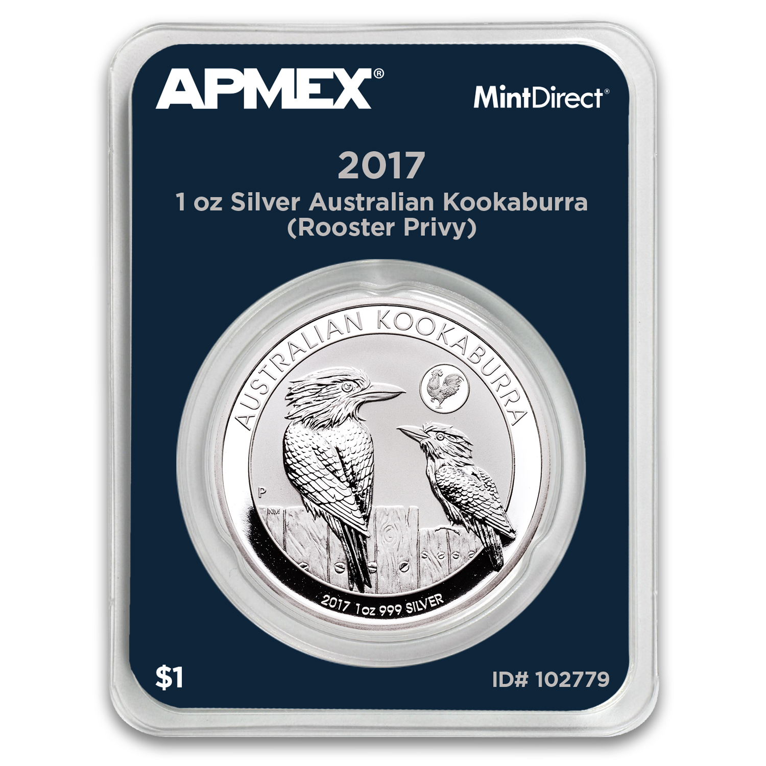 2017 AUS 1 oz Silver Kookaburra Rooster Privy (MintDirect Single)