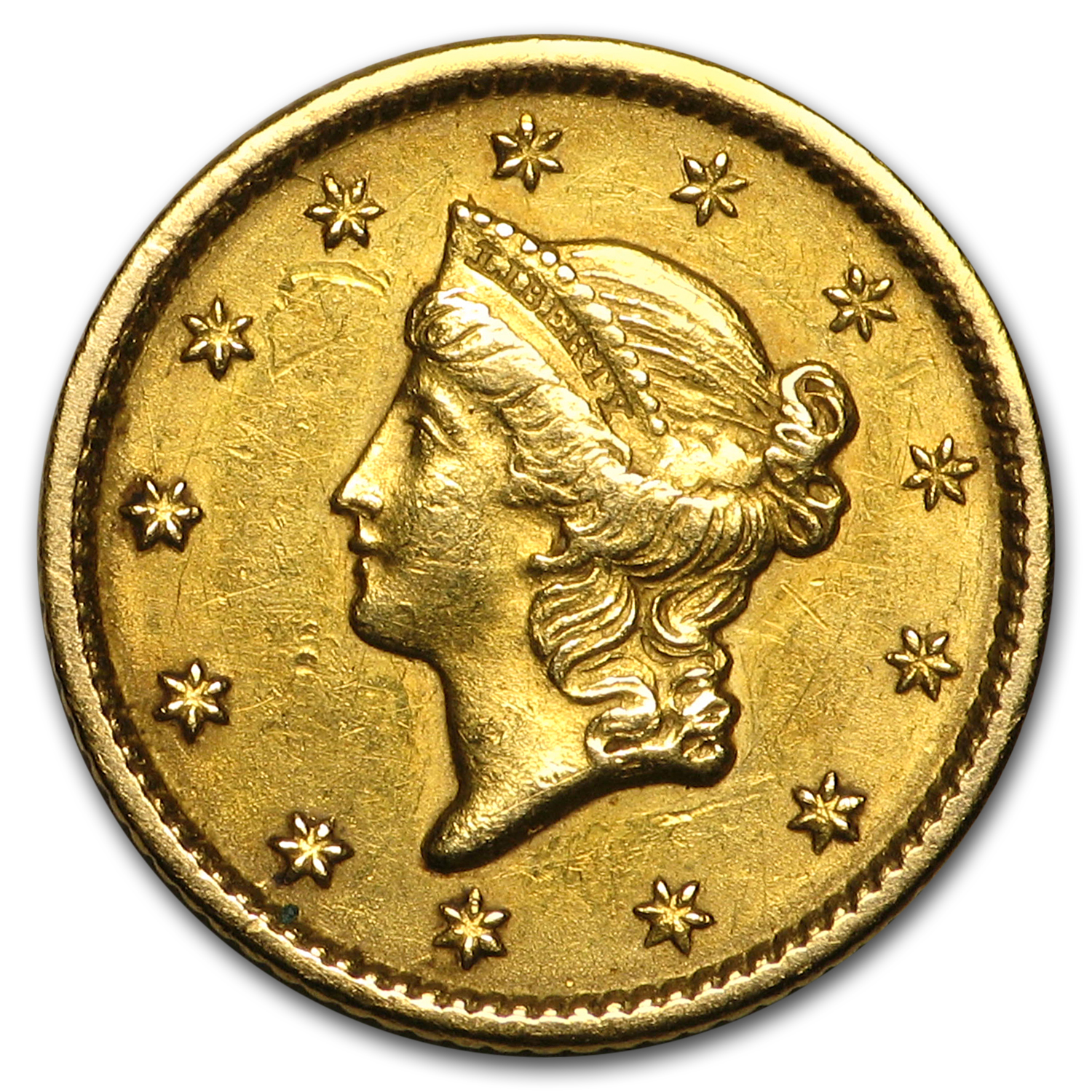 1849 $1 Liberty Head Gold Open Wreath Extra Fine