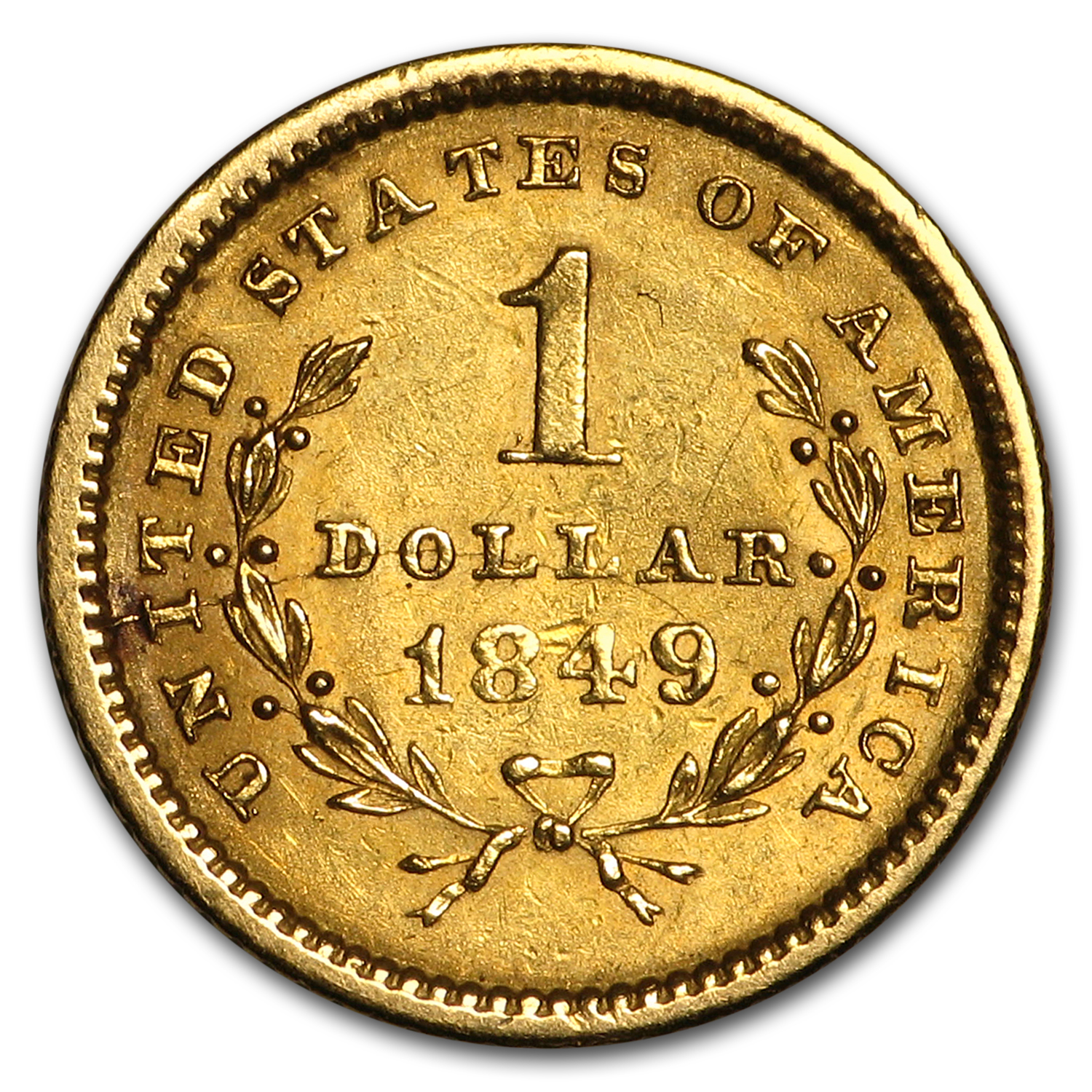 1849 $1 Liberty Head Gold Open Wreath XF