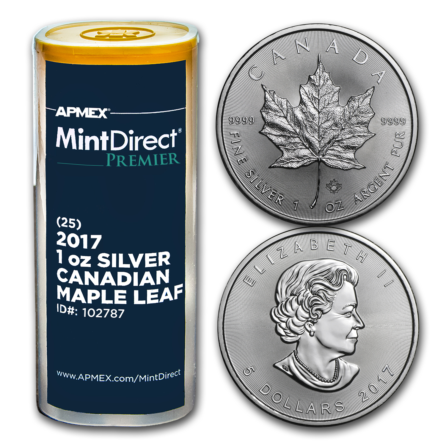 2017 1 oz Silver Maple Leaf (25-Coin MintDirect® Premier Tube)