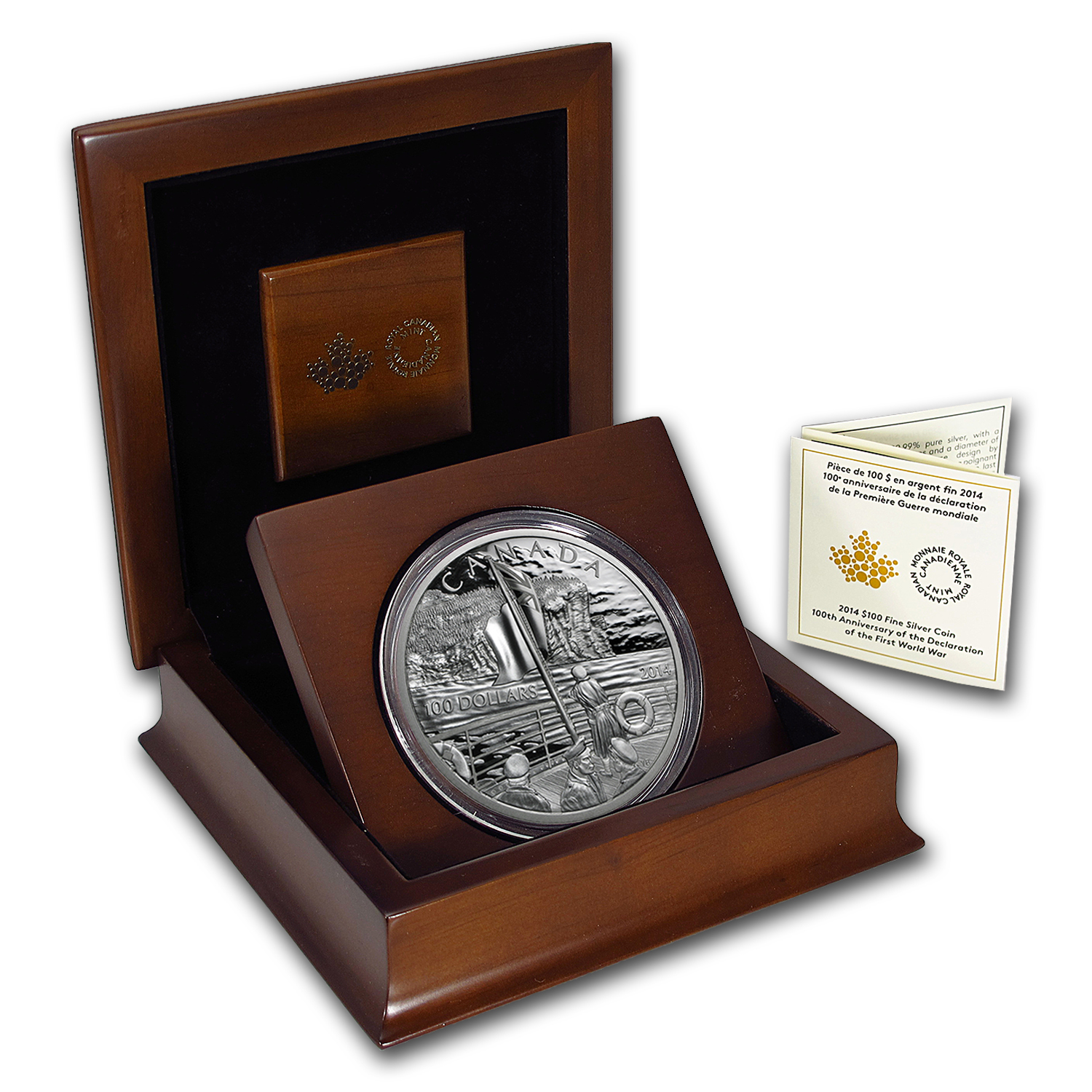2014 Canada $100 Fine Silver Coin 100th Anniv World War I Proof