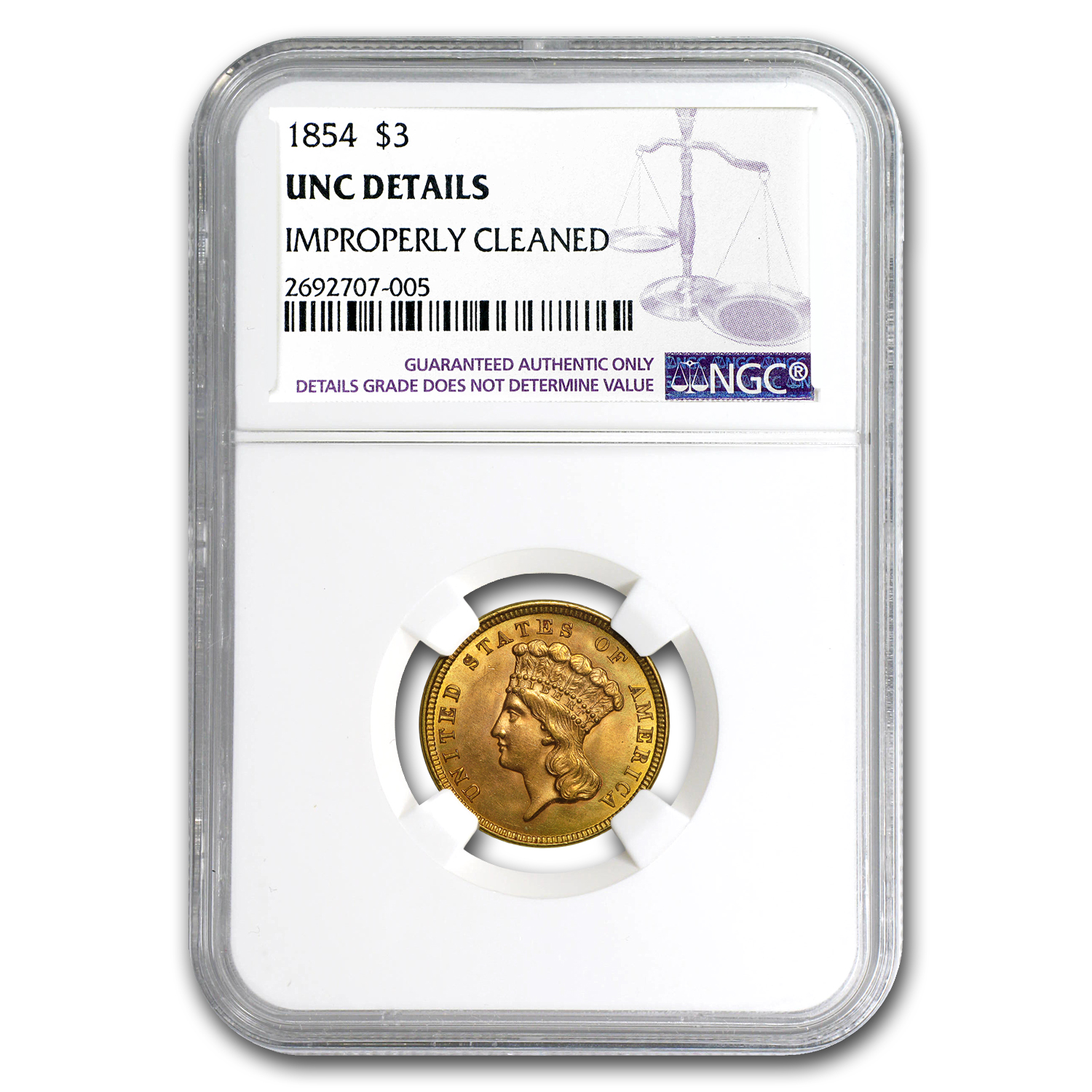 1854 $3 Gold Princess Unc Details NGC (Improperly Cleaned)