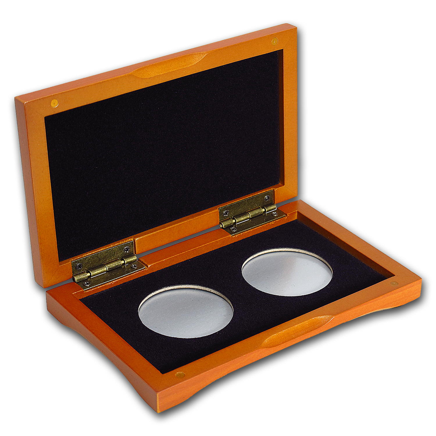 2 coin Wood Presentation Box - Fits Up to 40 mm (Air-Tite)