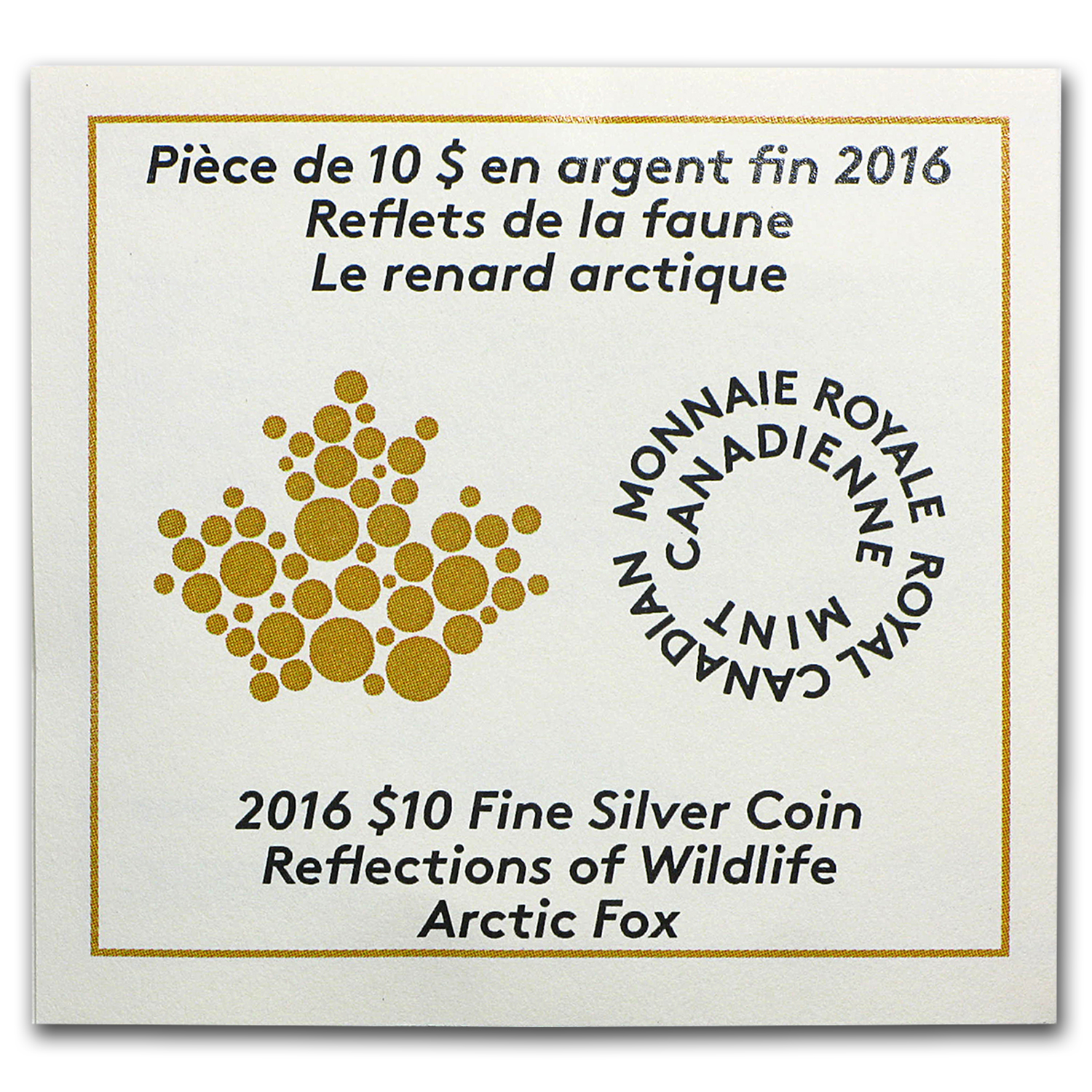 2016 Canada 1/2 oz Proof Silver $10 Reflections Arctic Fox