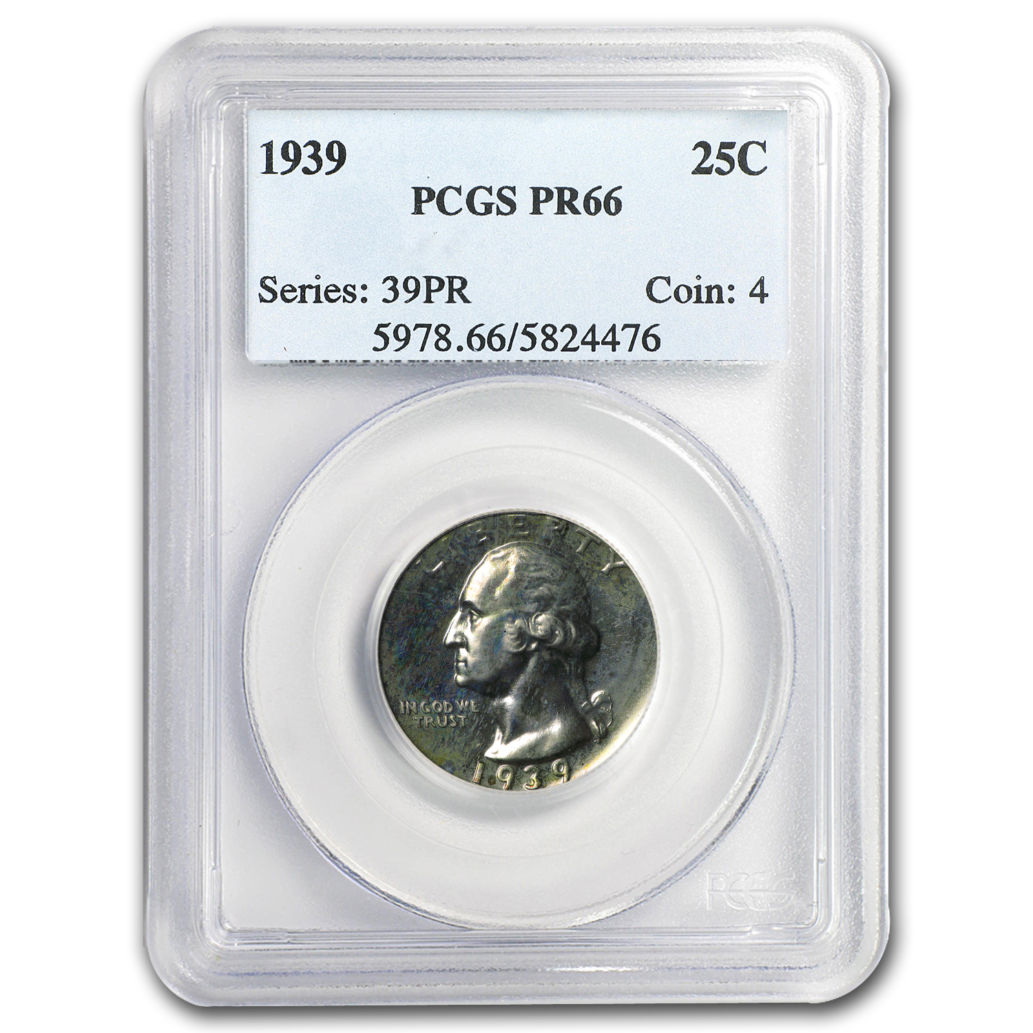 1939 Washington Quarter PR-66 PCGS