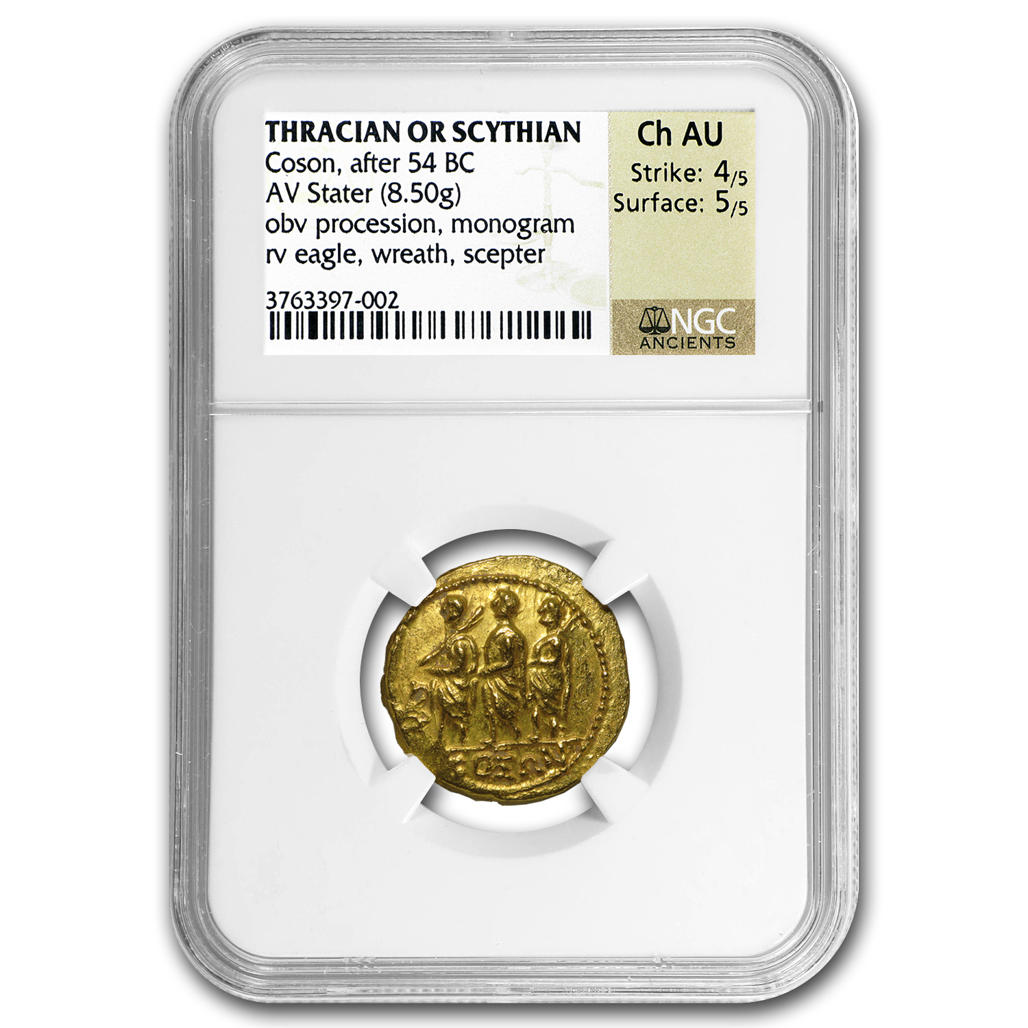 Thracian/Scythian Gold Stater w/Monogram (1st Cent. BC) CH AU NGC